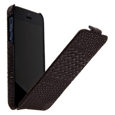 Borofone для iPhone 5 - Crocodile flip Leather case Coffee