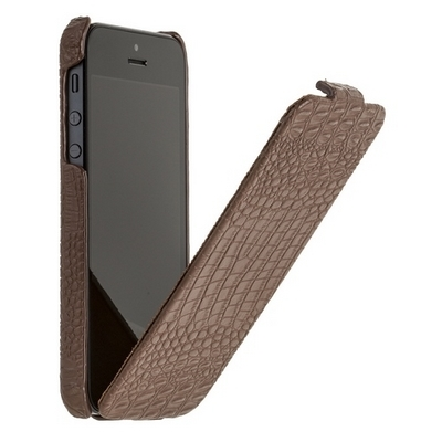 Borofone для iPhone 5 - Crocodile flip Leather case Brown