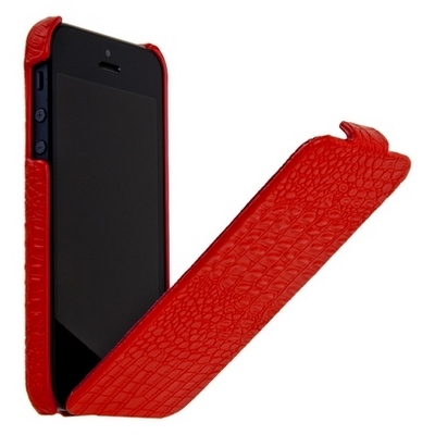 Borofone для iPhone 5 - Crocodile flip Leather case Red
