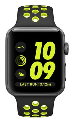 Space Gray Aluminum Case with Black/Volt Nike Sport Band 42mm