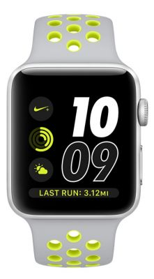 Silver Aluminum Case with Flat Silver/Volt Nike Sport Band 42mm