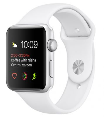 Silver Aluminum Case with White Sport Band 38mm