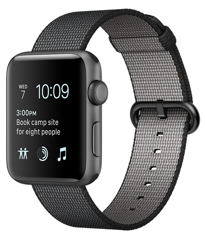 Space Gray Aluminum Case with Black Woven Nylon 38mm