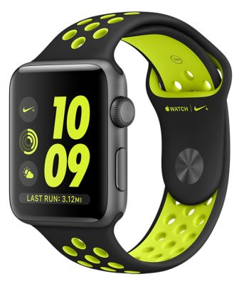 Space Gray Aluminum Case with Black/Volt Nike Sport Band 38mm